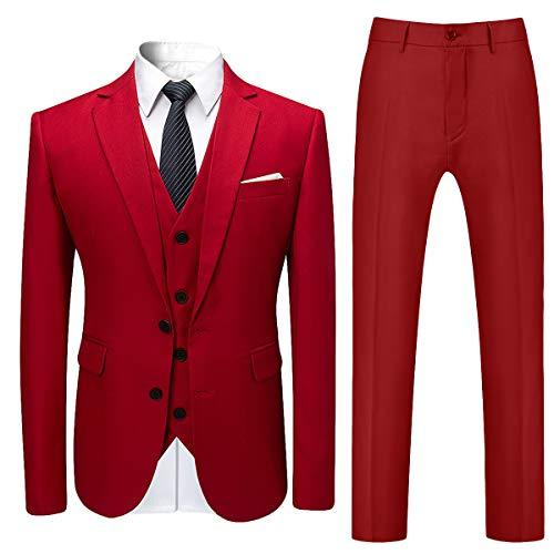 Allthemen Herren Slim Fit 3 Teilig Anzug Modern Sakko für Business Hochzeit Party Hochzeit Rot Large