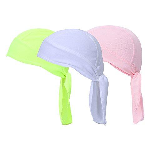 Vertvie 3 Pièces Bandana de Cyclisme Vélo Bonnet Pirate Casquette Sport Extérieur Respirant Protection Tête Anti UV pour Randonnée Pêche (Taille Unique,Rose+Vert Fluo+Blanc)