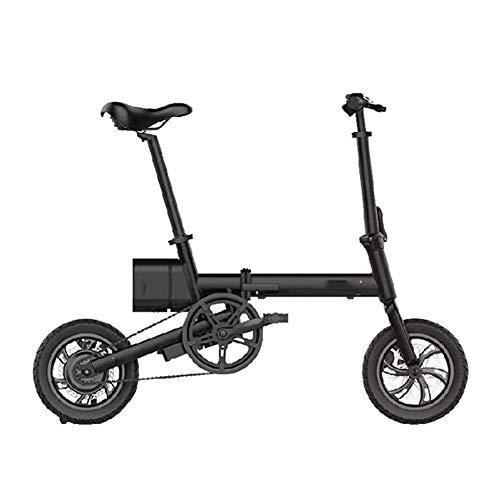 HWOEK Adulto Bicicletta Elettrica Pieghevole, 36V Batteria al Litio Rimovibile 12 Pollici Città Bici Elettrica per Pendolari 250W Motore Manubrio in Alluminio,Nero