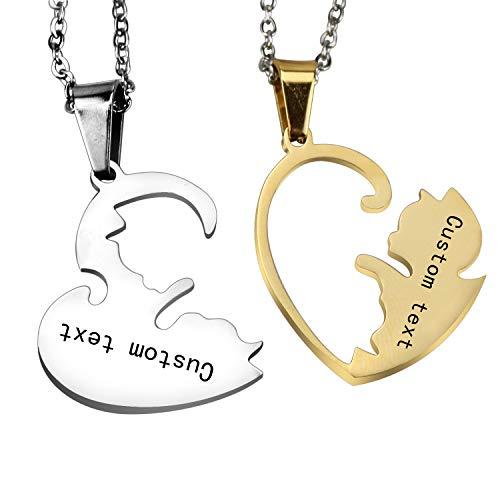 2 Piezas Pareja Collar Suyo Yin y Yang Tai chi Rompecabezas 2 Gatos Corazón a Juego Colgante para Parejas Amistad San Valentín Regalos Set (Parte Posterior grabada: Plata y Oro)