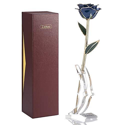 Zjchao - Rosa azul y dorada como regalo para bodas, San Valentín, Navidad, cumpleaños, aniversario, 29 cm de largo, envuelta en caja de regalo, con expositor transparente.