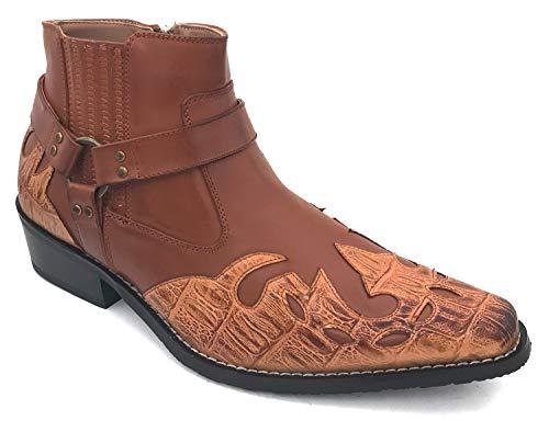 G4U-Alberto Fellini W-11s Men's Cowboy Boots Western Ankle Harness Leather LiningSide Zipper Shoes (8.5 D(M) US, Brown-1)