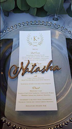 Individueller Namensschriftzug aus Holz Laser geschnittene Namen Geburtstag Handgearbeitetes Personalisierter Wunschname Hochzeitsname Braut Bräutigam Platz Karten Acrylplatzname Partyname Platzkarten