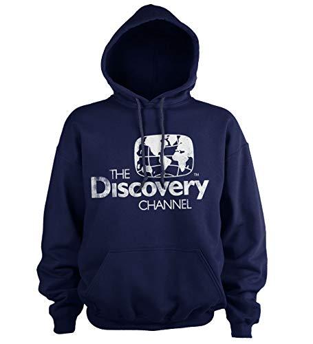 Discovery Officiellement sous Licence Channel Distressed Logo Sweat À Capuche (Marine Bleu), XXL