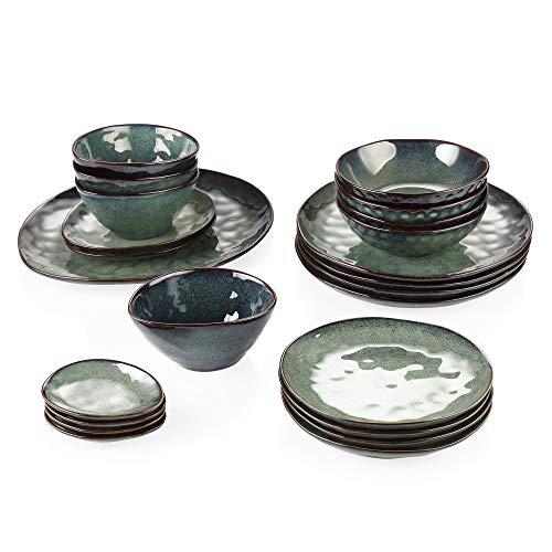 vancasso Serie Starry Vajilla de Gres Juego de Vajilas de 23 Piezas Vajilla Completa Diseno de Bordes Irregulares Verde, Vintage