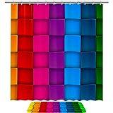 Josid Rutschfeste Mikrofaser-Badezimmermatte mit Stoff-Duschvorhang-Set, wasserdicht, buntes Neon-Kontrast-Regenbogen, Badezimmerteppich, 2er-Set, 182,9 cm breit x 182,9 cm lang, extra lang
