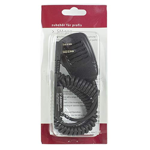 Albrecht SM 500 Lautsprecher Mikrofon, L-Stecker mit rotierendem Clip und Spiralkabel , Wassergeschützt IP 54 für Funkgeräte mit Duobuchse : 2,5/3,5 mm