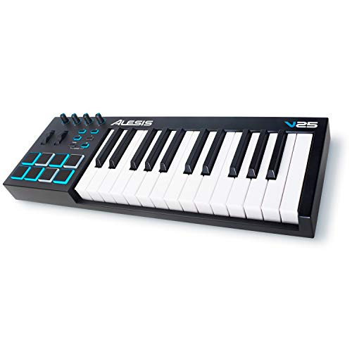Alesis V25 - 25-Key USB MIDI Keyboard Controller with Backlit Pads, 4 Assignable Knobs and Buttons, Professional Software Suite Included
