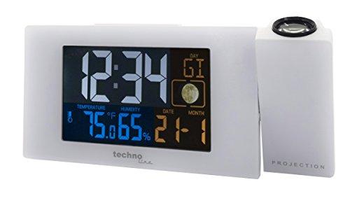 Technoline WT 537 Projektionswecker WT537 Funkwecker mit Projektion, sowie Temperatur - und Luftfeuchteanzeige, weiß, 16.5 x 5.6 x 7.5 cm
