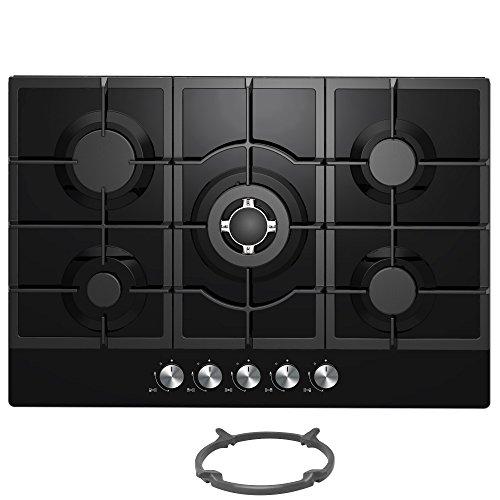 Cookology GGH755BK Kitchen Hob 75cm Built-in 5 Burner Gas-on-Glass Hob in Black