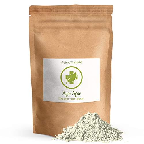 Agar Agar Pulver - 500 g - in Rohkostqualität - vegan - glutenfrei - laktosefrei - für Geliermittel, Torten und Co. - OHNE Zusätze