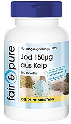 Iodine 150µg from Kelp - In Pure Form - No Additives or Excipients - 180 Vegetarian Tablets by fair & pure