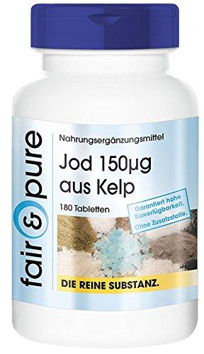 Yodo 150µg - Suplemento de Yodo natural - Procedente de Alga Kelp - Fucus vesiculosus - Vegano - Alta pureza - 180 Comprimidos
