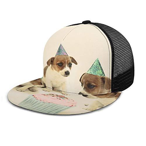 Baseballmütze Vintage Welpe Geburtstag Kuchen Hunde Snapback Flat Bill Hip Hop Hüte Trucker Hut für Männer Frauen Schwarz