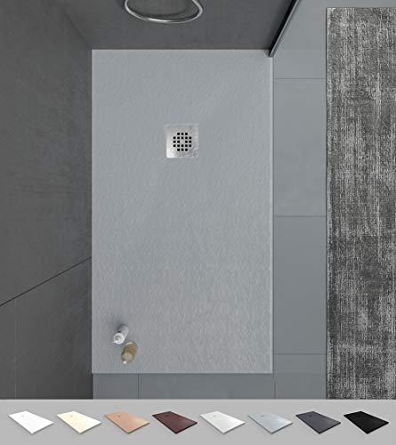 VAROBATH -Plato de ducha de Resina Gris , extraplano, antideslizantes C3 y anti-bacterianos. Incluye válvula. Fabricado en España. (80x120)