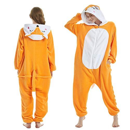 NF Pyjama Femmes à Capuche Licorne Pijamas Adultes Renard Animal Dessin animé vêtements de Nuit Kigurumi Flanelle Pijamas Kigurumi Adulto-Renard_L
