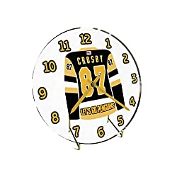 USA Hockey Legends Table Clocks - 7 X 7 X 2 N H L Jersey Themed Limited Edition Legend Desktop Clocks ! (S.Crosby 87 Pit Edition)