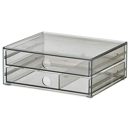 Ikea Godmorgon - Mini cómoda con 2 cajones, 23 x 19 x 9 cm, color gris ahumado, plástico PET