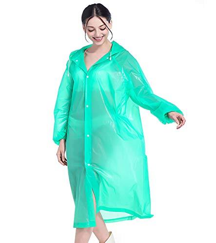 YJJY Draagbare Lichtgewicht EVA regenjas, Outwear Travel Poncho Transparant Duidelijke Regenjas Mode Herbruikbare Regenkleding met Capuchon (Kandy kleuren), Groen