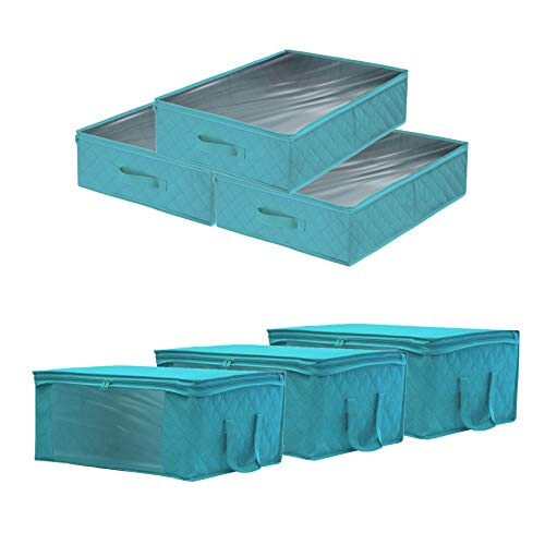 Sorbus Foldable Storage Bag Organizers, Large Clear Window & Carry Handles, Great for Clothes, Blankets, Closets, Bedrooms, and More (6-Pack, Aqua)