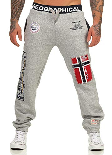 Geographical Norway Herren Jogginghose Myer Jogg-Pants mit Patches Blended Grey XXL