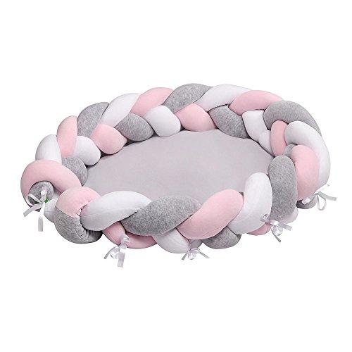 lulando Cuna multifuncional en diseño trenzado, Baby Nido Manta Nido bebé Cuna (90x 60x 17cm), suave y segura para el bebé de cuna de viaje bebé Edredón cuna para recién nacidos (White/Grey/Pink)