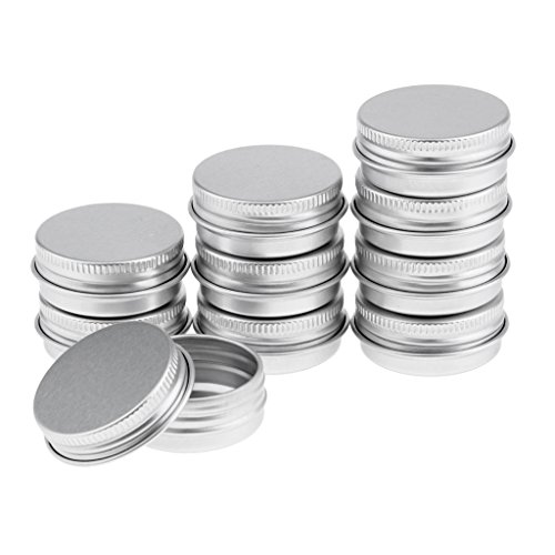 D DOLITY Boîte Cosmétique Vide à Poudre Libre en Aluminium Pot Récipient Conteneur de Baume Sérum Crème - Idéal pour Voyage - argent, 15 ml 10pcs