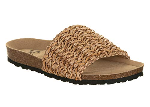 JOE N JOYCE | Sylt Bast Damen Sandale | Bast-Pantolette mit Komfort-Fußbett | Beige 40 EU Schmal