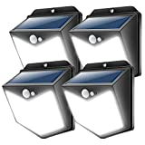 New Upgrade LED Solar Lights Outdoor Motion Sensor, Solar Security Wireless Wall Light IP65 Waterproof, Daylight White, 140 LEDs Wide Angle for Yard, Garden, Steps, 4 Pack