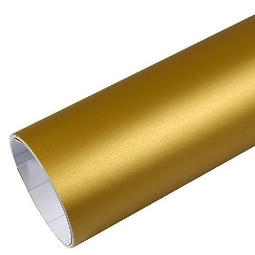 Rapid Teck® 9,47€/m² Premium – Matt Gold 50cm x 1,52m Auto Folie Blasenfrei mit Luftkanälen für Auto Folierung und 3D bekleben in Matt Glanz und Carbon Autofolie