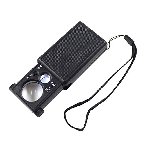 30X 60X Pull-Type Jewelry Magnifier Mini Pocket Hand Magnifying Glass Portable Microscope Loupe Optical Lens Tool w/LED Light