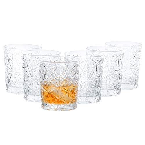 Van Well 6-delige Bormioli Rocco Glazenset, 390 ml, dubbele old, fashion glas voor whisky, drankjes en cocktails, partyglas, barokdesign, jaren '60