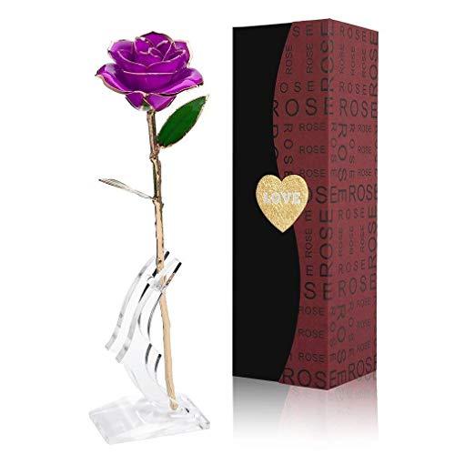 Gomyhom Rosa 24K, Rosa de Oro Chapada en Oro con Caja de Regalo para Madre para Amor en el Día de San Valentín para Aniversario para Amigos como Un Regalo de Cumpleaños (Flor Púrpura con Soporte)