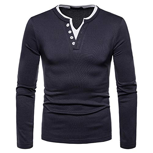 Men's T Shirts Long Sleeve Mens Classic Patchwork Comfort Soft Slim Fit T-Shirt Spring and Autumn Tops Button V-Neck Long Sleeve T-Shirt Tee Polo Shirts L