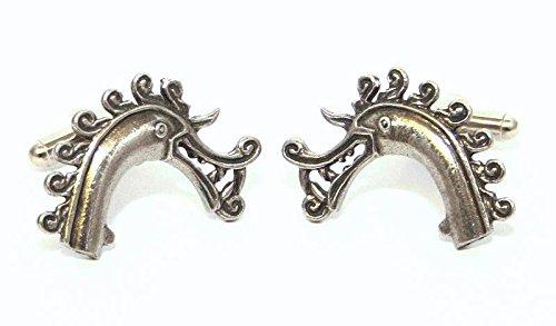 Boutons de Manchette Viking Tête de Dragon avec Boîte à Cadeau