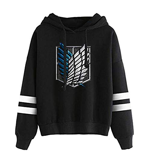 Attack On Titan Hoodie Herren, Damen AOT Scouting Legion Aufklärungstrupp Levi Ackermann Anime Pullover Streifen Baseball Pulli Männer A.N.T 3D Langarm Sweatshirt Kapuzenpullover Shirt (C-Schwarz,S)