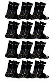 Poligono Calcetines de Trabajo para Hombre, de algodón Esponja, Punta y talón Reforzados Negro 12 pares 43-46
