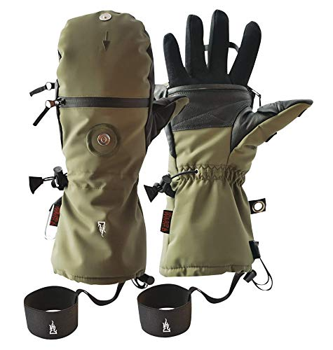 K & S The Heat Company Handwärmer Handschuhe Heat 3 Special Force Fingerhandschuh und Fäustling Wasserdicht Atmungsaktiv Primaloft Gold mit Echt Ziegenleder (Olivgrün, 9)