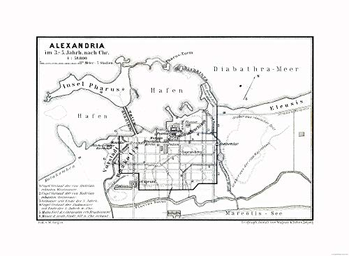 MAPS OF THE PAST Alexandria Egypt 5 BC - Baedeker 1913-23.00 x 31.32 - Glossy Satin Paper