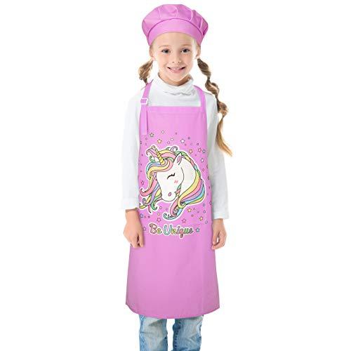 Beinou Delantal infantil ajustable con 2 bolsillos para niños, diseño de tiburón de unicornio, para regalo, pintura de cocina, horneado y cocina