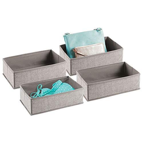 mDesign Förvaringslådor – tyglådor för garderobsinredning – förvaringslådor i tyg för garderoben – 4-pack – linnefärgad