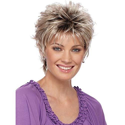 Anniston Hairpiece Women's Fashion Short Haircut Shag Short Curly Ombre Wig with Cap Party Club Hair Scrunchies Updo Hair Bun Hair Accessories for Women - Grey