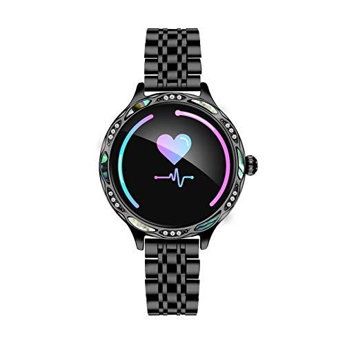 Xiao Yu Damenuhr M9 | Smart Watch | Damen wasserdichte Smartwatch | Fitness Tracker | Android- Und IOS-System Kompatibel | Damengeschenk (Color : Black Steel Belt)