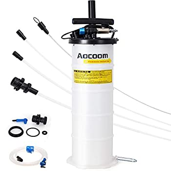 Aocoom 6.5 Liter Oil Changer Vacuum Transmission Fluid Extractor Pneumatic/Manual Fluid Evacuator with Pump Tank Remover and Brake Bleeding Hose Engine Motor Oil Change & Fluid Change Tool