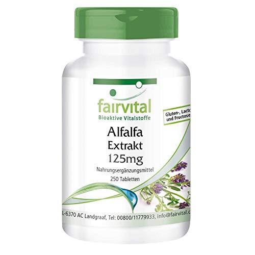 Alfalfa Tabletten - 125mg Alfalfa-Extrakt pro Tablette - Medicago sativa (Luzerne) - VEGAN - 250 Tabletten