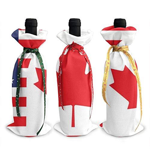 3 Stück Weihnachtsweinflaschen-Abdecktüten Kanada Us Freundschaft Flagge Kombination Dekoration wiederverwendbare Weinflaschen-Geschenktüten für Dinner-Party Tischdekorationen