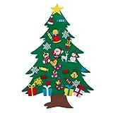 Árbol de Navidad de fieltro, árbol de Navidad para montar en la pared con 29 adornos extraíbles para decoración de pared, con cordón, apto para el hogar de los niños