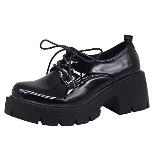 Zapatos Oxford para mujer con plataforma gruesa con cordones y puntera redonda, color negro, (A-Patent Black), 38 EU