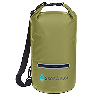 Såk Gear DrySak Waterproof Dry Bag with Exterior Zip Pocket, Shoulder strap and Reflective Trim, For Watersports & Outdoor Activities, 10L Army Green