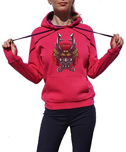 KrisTalas Sweat à Capuche Femme Samurai Mask Red Warrior Brave Soul Japan History Rose XX-Large